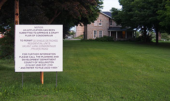 Notice of application sign on lot