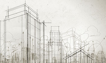 Drafting sketch of city buildings