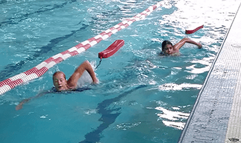 Two swimmers in the pool